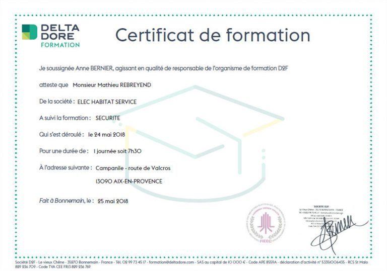 certificat delta dore